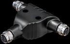 T-coupler M12 Power male S-cod. / 2x female S-cod.